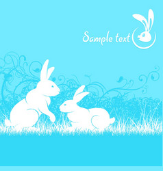 Rabbits in blue vector