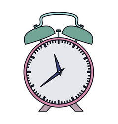 Colorful silhouette with pink alarm clock vector