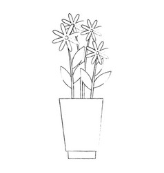 Vase with flowers vector