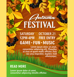 Autumn picnic music party festival poster vector