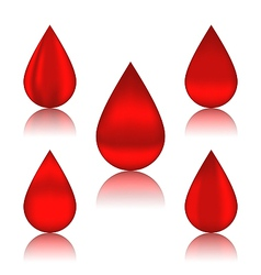 Set blood drops with reflections different vector