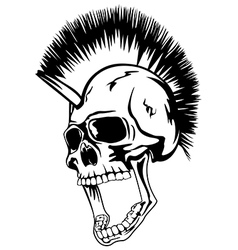 Head punk skull vector