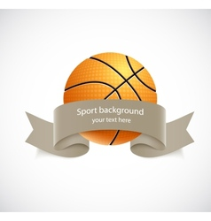 Basketball with brown ribbon vector image