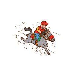 Jockey horse racing cartoon vector