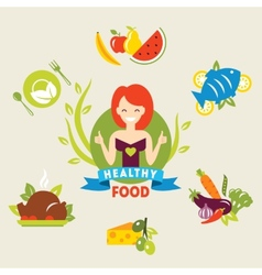 Diet choice of girls healthy lifestyle vector
