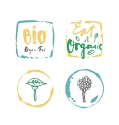 Bio organic food label set vector