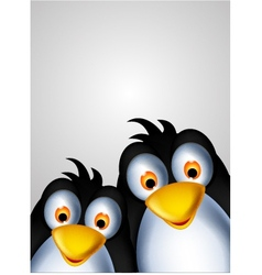 Cute couple penguin cartoon vector
