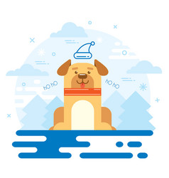 dog new year 2018 flat design vector image