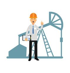 Engineer of oil industry character standing next vector
