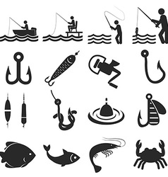 Fishing icons in single color vector