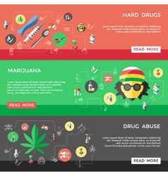 Flat drugs banner set vector
