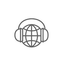 Globe in headphones line icon vector