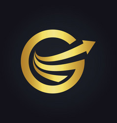 gold arrow letter g round business logo vector image vector image
