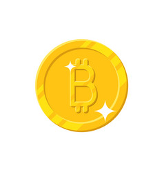 gold bitcoin coin cartoon style isolated vector image vector image