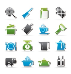 home kitchen equipment icons vector image vector image
