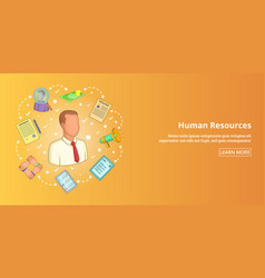 human resources banner horizontal cartoon style vector image vector image
