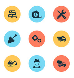 Industry icons set collection of cogwheel vector