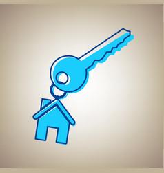 Key with keychain as an house sign sky vector