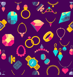 luxury jewelry flat style seamless texture vector image vector image
