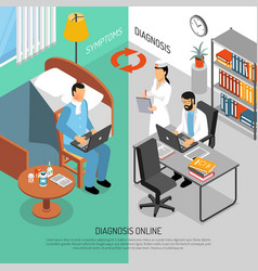 Online medical diagnosis isometric banners vector