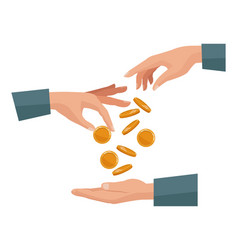 People pair hands depositing coins in a palm human vector
