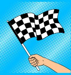 racing flag in hand pop art vector image