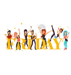 Rock party banner poster - friends having fun vector
