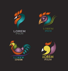 rooster logo design icon set vector image