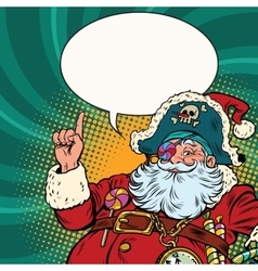 Santa Claus pirate pointing gesture vector image