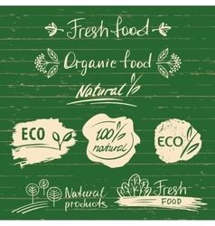 Set logos labels with natural fresh food sketch vector