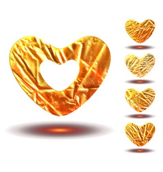 Set of golden hearts vector image