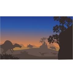 Silhouette of eoraptor and spinosaurus vector