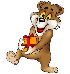 sweet bear and gift vector image
