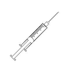 syringe sign black dotted vector image