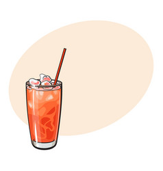 tall glass full of freshly squeezed grapefruit vector image vector image