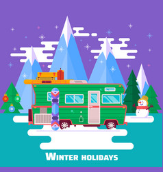 travel by carwinter holidays winter holidays in vector image vector image