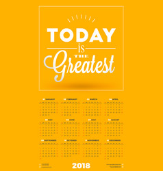 Wall calendar poster for 2018 year week starts on vector