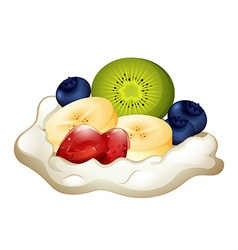 Whipping cream and berries vector