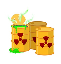 Yellow barrel with a radiation sign open container vector