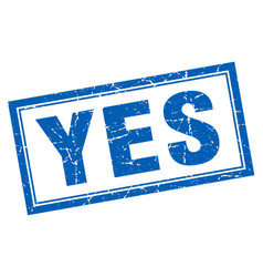 Yes blue square grunge stamp on white vector