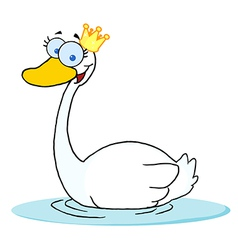 Crowned swan swimming vector