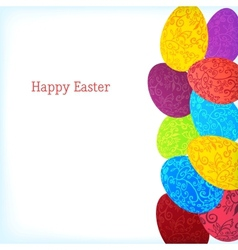 Easter background with colorful ornament eggs vector