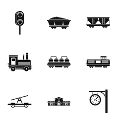 Iron way road icons set simple style vector