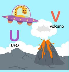 isolated alphabet letter u-ufo v-volcano vector image