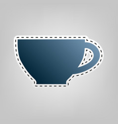 cup sign  blue icon with outline for vector image