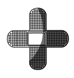 Grayscale silhouette with symbol of band aid in vector