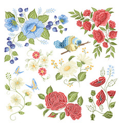 floral embroidery colorful pattern pattern vector image