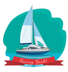 Racing yacht with sails drifting in sea vector