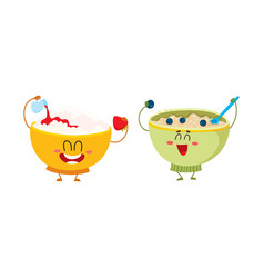 Two funny bowl characters - cottage cheese vector