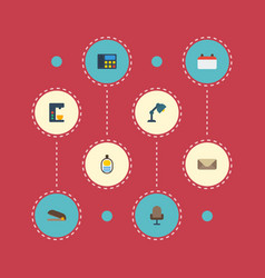 Flat icons date letter puncher and other vector